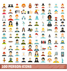 100 person icons set flat style vector