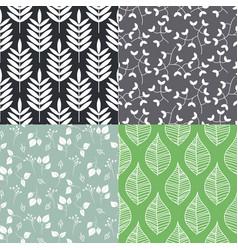 Leaves seamless pattern set vector