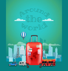 Travel with the red bag around the world concept vector
