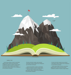 Nature in opened book camping graphics outdoor vector