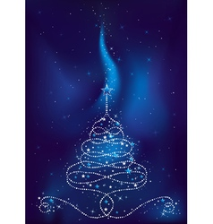Christmas tree on dark blue background vector