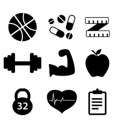 Icons set fitness vector