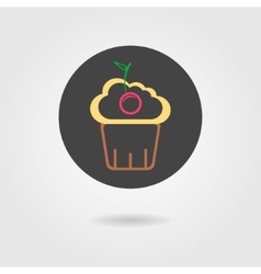 Cupcake in black circle with shadow vector