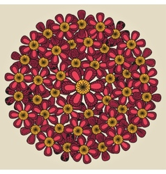 Round floral ornament like bouquet of red flowers vector