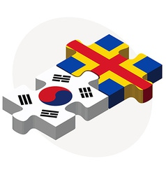 South korea and aaland islands flags in puzzle vector