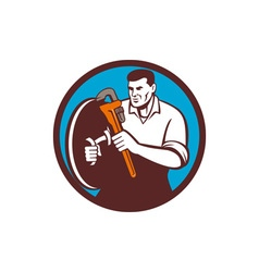 Plumber brandishing wrench circle retro vector