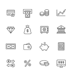 Finance line icons vector