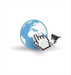 Internet earth globe with mouse hand and shopping vector image