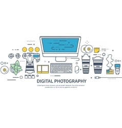 Lined fhotographer equipment on a table vector