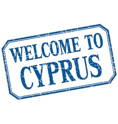 Cyprus - welcome blue vintage isolated label vector