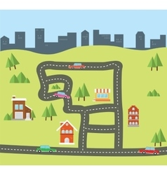 City flat from top view vector