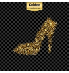 Gold glitter icon of right shoe isolated on vector