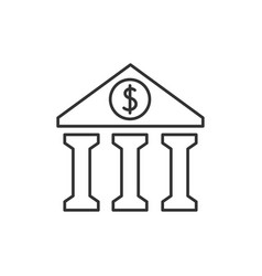 bank outline icon vector image vector image