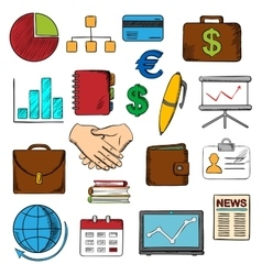 Business finance and office icons vector image vector image