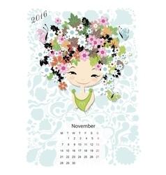 Calendar 2016 november month season girls design vector
