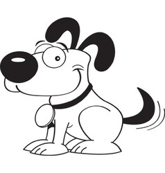Cartoon dog wagging his tail vector image vector image