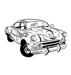 Cartoon image of broken down car cartoon vector