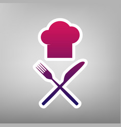 Chef with knife and fork sign purple vector