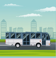 color background city landscape with bus vehicle vector image vector image