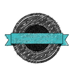 Color pencil heraldic round stamp with blue ribbon vector