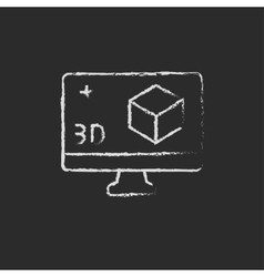 Computer monitor with 3d box drawn in chalk vector