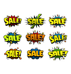 Cool sale stickers cartoon comic style vector