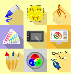 Digital drawing icons set flat style vector