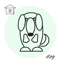 dog thin line icon vector image vector image