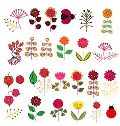Doodle flowers set vector image vector image