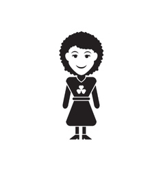 Flat icon in black and white irish girl vector