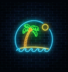 glowing neon summer sign with palm sun island vector image vector image