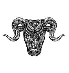 Hand drawn head ram ethnic patterns bull or vector