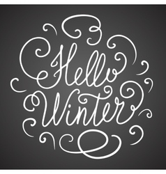 Hello winter hand lettering vector image
