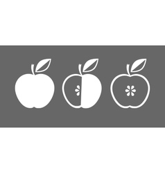 icon of apple whole and in cross section vector image vector image