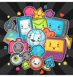 Kawaii gadgets social network items doodles with vector