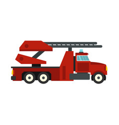 Red fire truck icon flat style vector