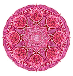 Red mandala card or invitation pink wedding vector