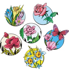 Round flower designs vector