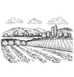 Rural landscape handdrawn inked sketch style vector