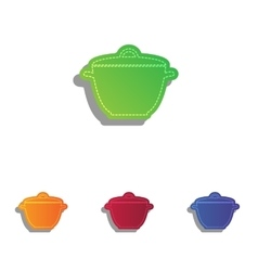Saucepan simple sign colorfull applique icons set vector