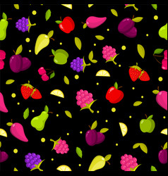 seamless summer fruits pattern colorful vector image vector image