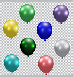 set of celebratory balloons realistic semi vector image vector image