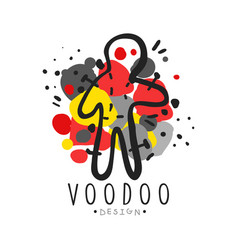 Voodoo african and american magic logo doll with vector