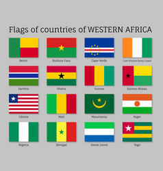 Western africa countries flag set vector