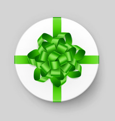 white gift box with green bow and ribbon top view vector image vector image