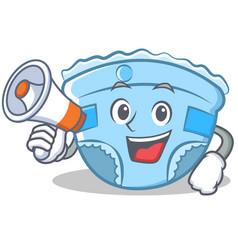 With megaphone baby diaper character cartoon vector