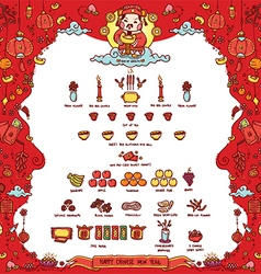Happy chinese new year god of wealth vector