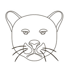 Black panther icon in outline style isolated on vector