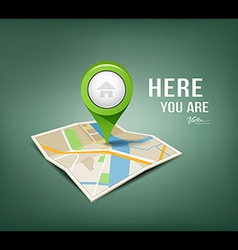 Folded maps with green color point markers vector image
