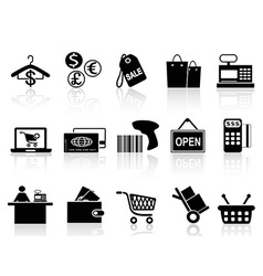 Black retail and shopping icons set vector